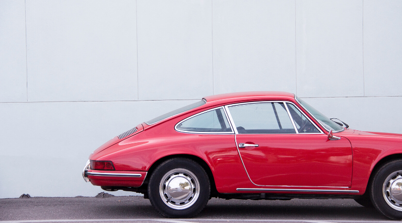 classic car, red porsche, car history