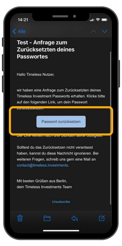 E-Mail Anfrage zum Zurücksetzen des Passworts